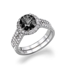 Load image into Gallery viewer, Double Shank Halo Black Diamond Engagement Ring - Diamonds Mine