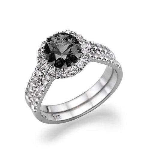 Double Shank Halo Black Diamond Engagement Ring - Diamonds Mine