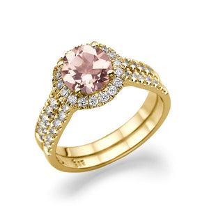 "1.5 Carat 14K Rose Gold Morganite & Diamonds ""Deborah"" Engagement Ring"