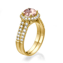 "Load image into Gallery viewer, 1.5 Carat 14K Rose Gold Morganite & Diamonds ""Deborah"" Engagement Ring"