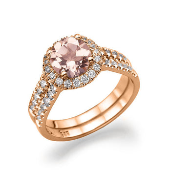 Peach Morganite Ring Double Shank - Diamonds Mine
