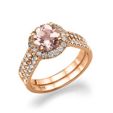 Load image into Gallery viewer, Peach Morganite Ring Double Shank - Diamonds Mine