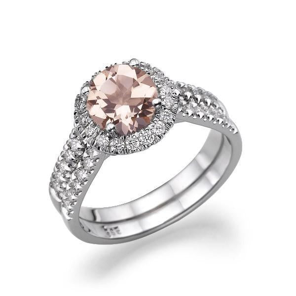 1.5 Carat 14K Rose Gold Morganite & Diamonds