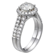 Load image into Gallery viewer, Double Shank Halo Moissanite Engagement Ring - Diamonds Mine