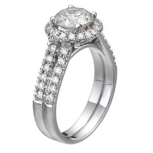 Double Shank Halo Moissanite Engagement Ring - Diamonds Mine