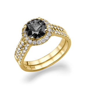 "1.5 Carat 14K Yellow Gold Black Diamond ""Deborah"" Engagement Ring"