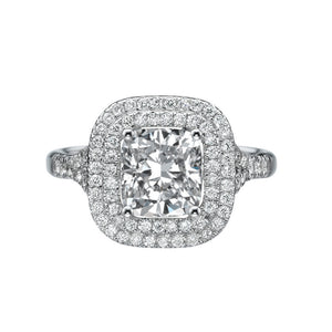 Double Halo Micro Pave Moissanite Engagement Ring - Diamonds Mine
