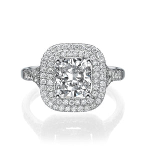 Double Halo Micro Pave Diamond Engagement Ring - Diamonds Mine