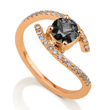 "Load image into Gallery viewer, 0.85 TCW 14K White Gold Black Diamond ""Penelope"" Engagement Ring"