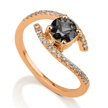 0.8 Carat 14K Rose Gold Black Diamond