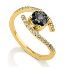 "Load image into Gallery viewer, 0.8 Carat 14K White Gold Black Diamond ""Penelope"" Ring 