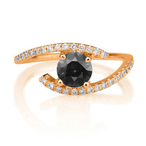 "0.8 Carat 14K Rose Gold Black Diamond ""Penelope"" Ring"