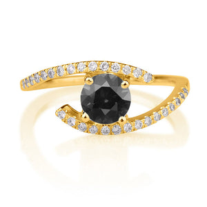 "0.85 TCW 14K White Gold Black Diamond ""Penelope"" Engagement Ring"