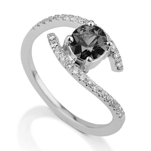 "0.85 TCW 14K White Gold Black Diamond ""Penelope"" Engagement Ring - Diamonds Mine"