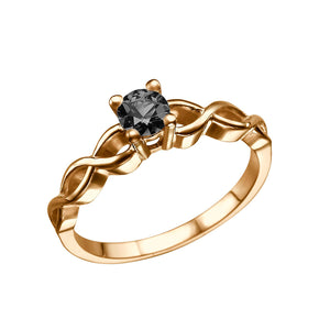 "0.5 Carat 14K Yellow Gold Black Diamond ""Amelia"" Engagement Ring"