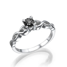 "Load image into Gallery viewer, 0.7 Carat 14K White Gold Black Diamond ""Amelia"" Engagement Ring - Diamonds Mine"