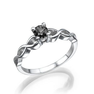 0.5 Carat 14K White Gold Black Diamond