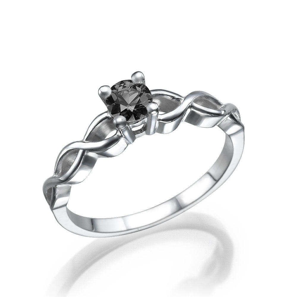 "0.7 Carat 14K White Gold Black Diamond ""Amelia"" Engagement Ring - Diamonds Mine"