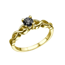"Load image into Gallery viewer, 0.7 Carat 14K Yellow Gold Black Diamond ""Amelia"" Engagement Ring - Diamonds Mine"