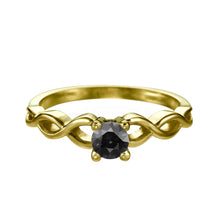 "Load image into Gallery viewer, 0.5 Carat 14K Yellow Gold Black Diamond ""Amelia"" Ring"