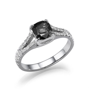 Black Diamond Split Shank Ring - Diamonds Mine
