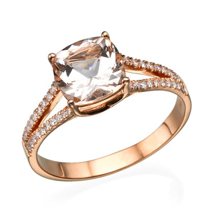 "1.2 Carat 14K Rose Gold Morganite ""Dorothy"" Engagement Ring - Diamonds Mine"
