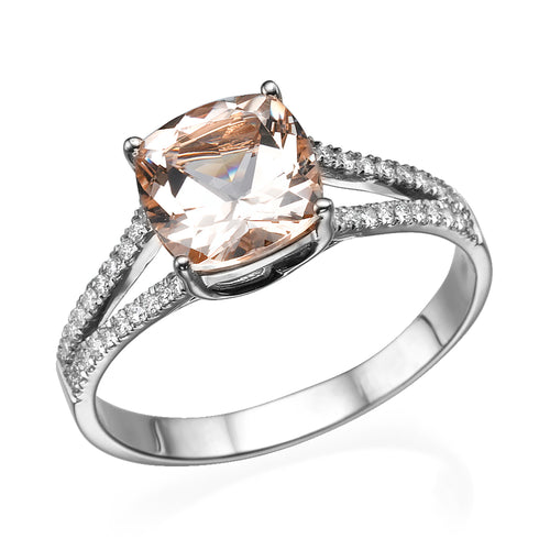"1.2 Carat 14K White Gold Morganite ""Dorothy"" Engagement Ring - Diamonds Mine"