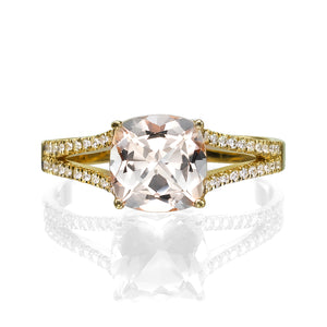 "1.2 Carat 14K Yellow Gold Morganite & Diamonds ""Dorothy"" Engagement Ring"
