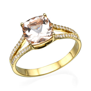 "1.2 Carat 14K Rose Gold Morganite  & Diamonds""Dorothy"" Engagement Ring"