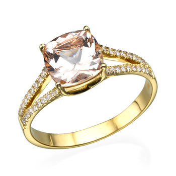 1.2 Carat 14K Yellow Gold Morganite & Diamonds