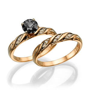 "1 Carat 14K White Gold Black Diamond ""Sharon"" Wedding Set"