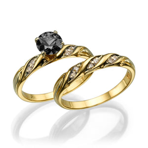 "1 Carat 14K Rose Gold Black Diamond ""Sharon"" Wedding Set"