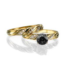 "Load image into Gallery viewer, 1 Carat 14K Yellow Gold Black Diamond ""Sharon"" Wedding Set"