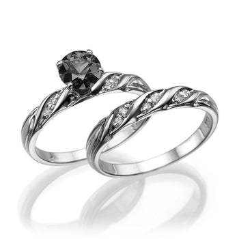"1 Carat 14K White Gold Black Diamond ""Sharon"" Wedding Set - Diamonds Mine"