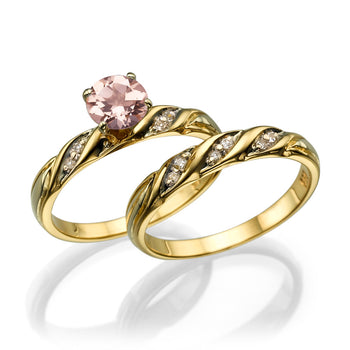 1.1 Carat 14K Yellow Gold Morganite & Diamonds