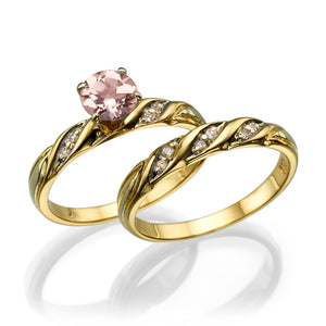 "1.1 Carat 14K Rose Gold Morganite & Diamonds ""Sharon"" Wedding Set"