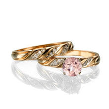 "Load image into Gallery viewer, 1.1 Carat 14K Yellow Gold Morganite & Diamonds ""Sharon"" Wedding Set"
