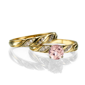 "1.1 Carat 14K Yellow Gold Morganite & Diamonds ""Sharon"" Wedding Set"