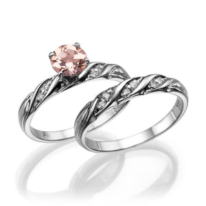 "1.1 TCW 14K White Gold Morganite ""Sharon"" Wedding Set"