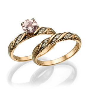 Pink Morganite Wedding Set - Diamonds Mine