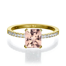 "Load image into Gallery viewer, 2.1 Carat 14K Rose Gold Morganite & Diamonds ""Stephanie"" Engagement Ring"