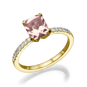 2.1 Carat 14K Yellow Gold Morganite & Diamonds