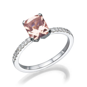 "2.14 TCW 14K White Gold Morganite ""Stephanie"" Engagement Ring"