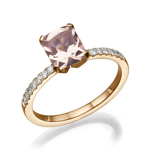 Antique Radiant Cut Morganite Engagement Ring - Diamonds Mine