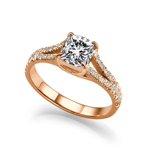 "1.2 TCW 14K Rose Gold Moissanite & Diamonds ""Paris"" Engagement Ring"