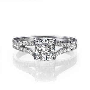 "1.2 TCW 14K White Gold Moissanite & Diamonds ""Paris"" Engagement Ring"