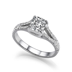 "0.9 TCW 14K White Gold Diamond ""Paris"" Engagement Ring - Diamonds Mine"