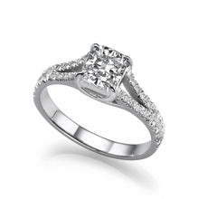 "Load image into Gallery viewer, 1.2 TCW 14K White Gold Moissanite & Diamonds ""Paris"" Engagement Ring 