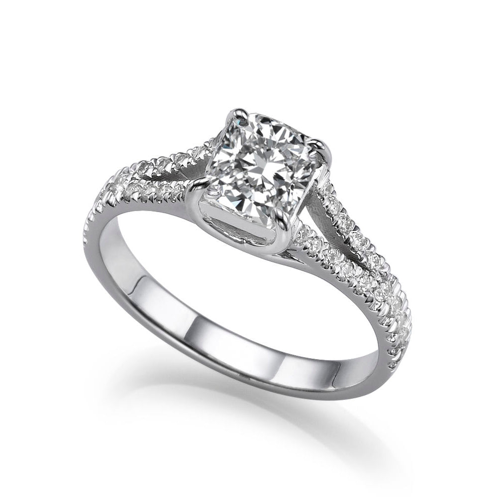 1.2 TCW 14K White Gold Moissanite & Diamonds