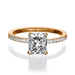 "2.1 Carat 14K Rose Gold Moissanite & Diamonds ""Erika"" Engagement Ring"